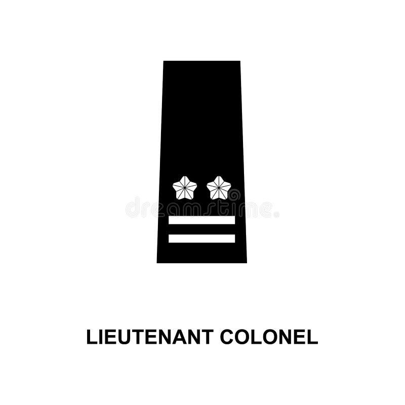 van de de luitenantkolonel van Japan de militair rangen en insignes glyph pictogram stock illustratie