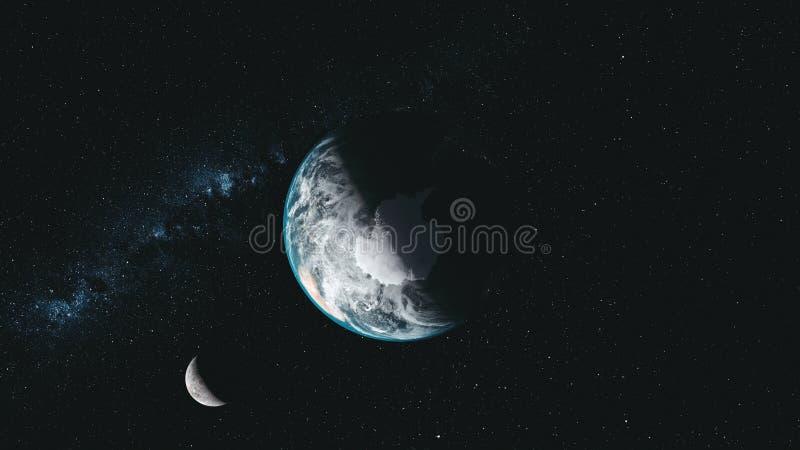Van de de maanbaan van de rotatieaarde melkachtige de manier satellietmening vector illustratie