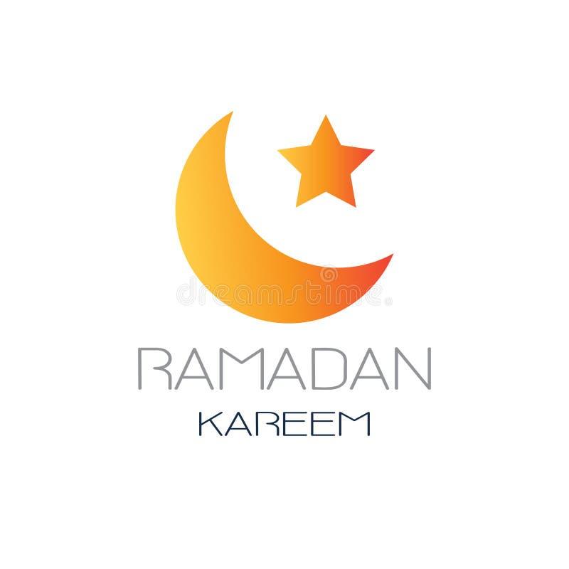 Van de de maand vlak groet van de Ramadan kareem moslimgodsdienst heilig de kaartmalplaatje op witte achtergrond stock illustratie