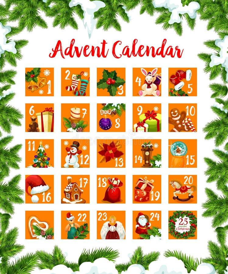 Van de maanddagen van de Kerstmiskomst de kalender vectorontwerp royalty-vrije illustratie