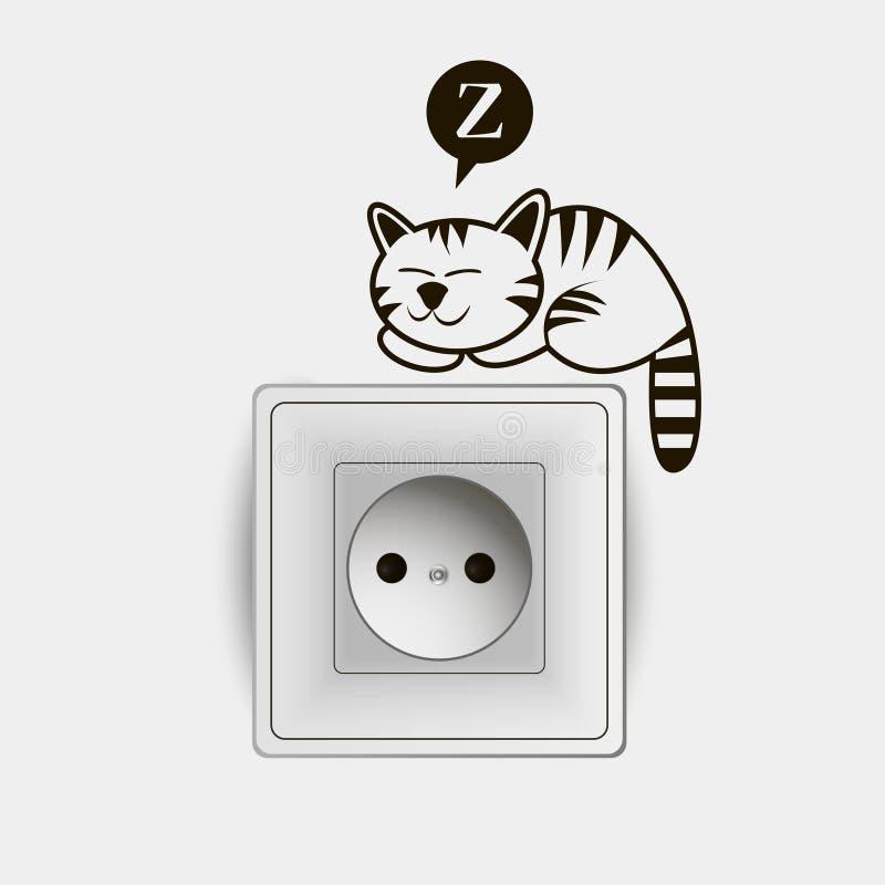 Van de malplaatjecontactdoos en schakelaar creatief ontwerp met grappige kat royalty-vrije illustratie