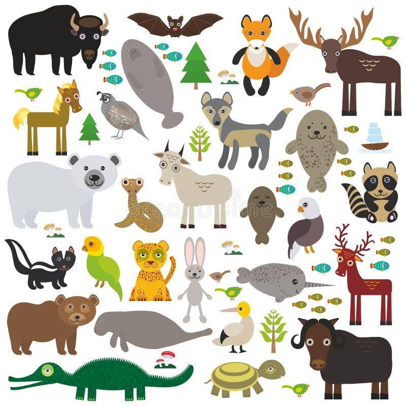 Van de manateevos van de bizonknuppel van het de elandenpaard van de de wolfspatrijs van de het bontverbinding van de de ijsbeerk royalty-vrije illustratie