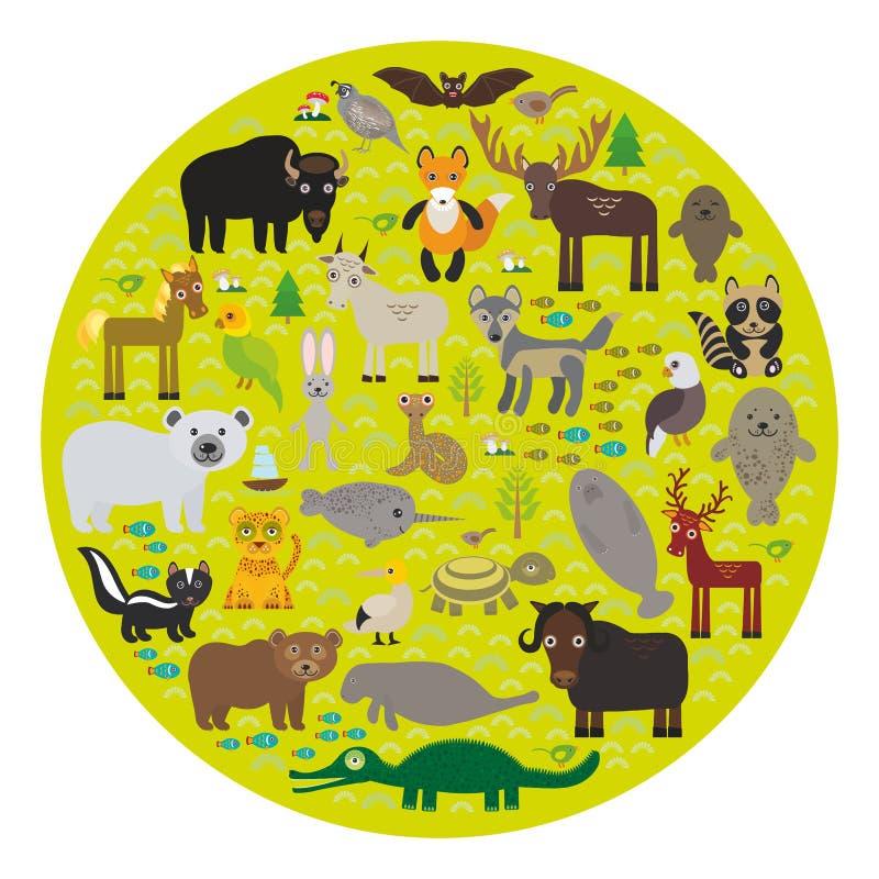 Van de manateevos van de bizonknuppel van het de elandenpaard van de de wolfspatrijs van de het bontverbinding van de de ijsbeerk vector illustratie
