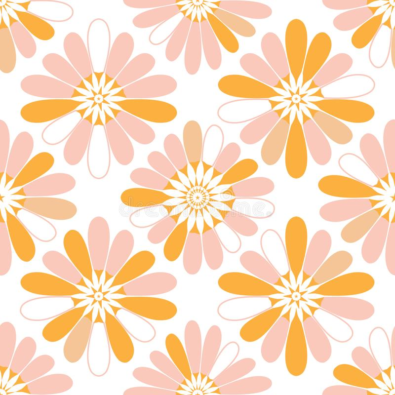 Van de mandaladiamant van de sterbloem van de de vormpastelkleur het oranje naadloze patroon stock illustratie