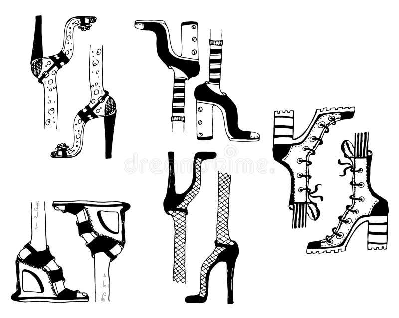 Van de de manierillustratie van krabbelsschoenen van de modellenmeisjes moderne de laarzenstijl vector illustratie