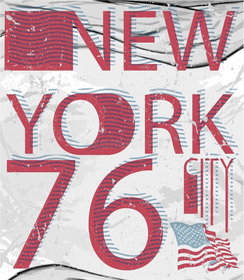 Van de de manierstijl van New York van de het T-stukkunst de typografieontwerp royalty-vrije stock afbeelding