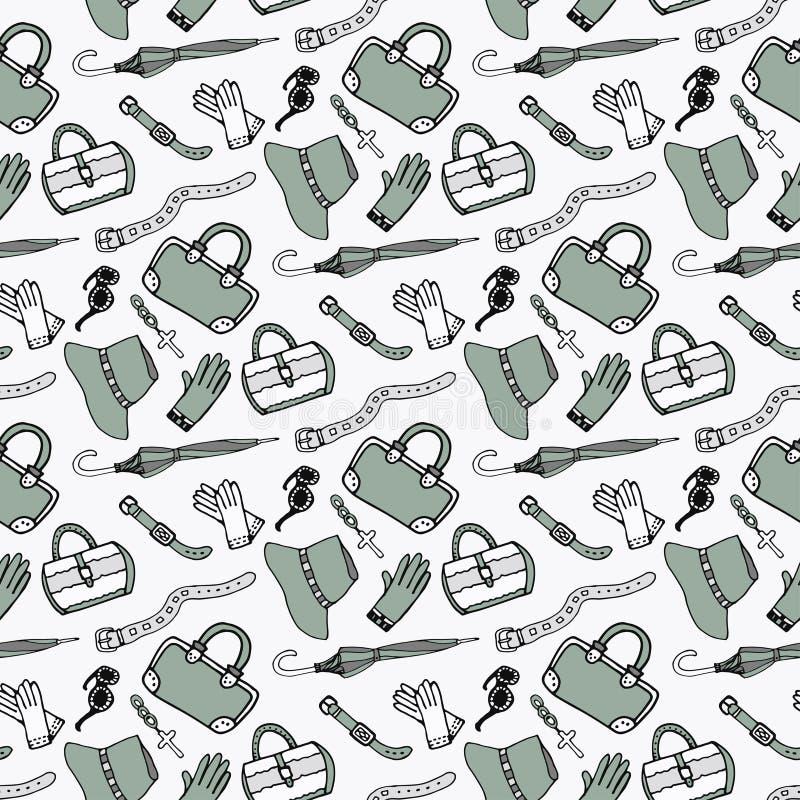 Van de maniertoebehoren en handtassen van krabbelhand getrokken meisjes naadloos patroon vector illustratie