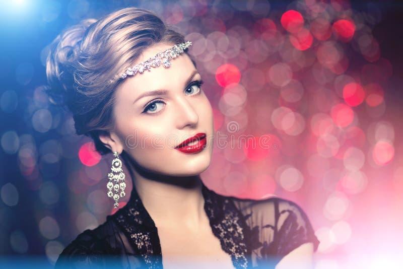 Van de maniervogue van hoog-manier de Modelgirl beauty woman hoge Stijl Po stock foto