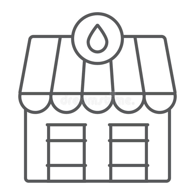 Van de de markt het dunne lijn van de oliepost pictogram, de brandstof en de architectuur, de oliemarktbouw teken, vectorafbeeldi stock illustratie