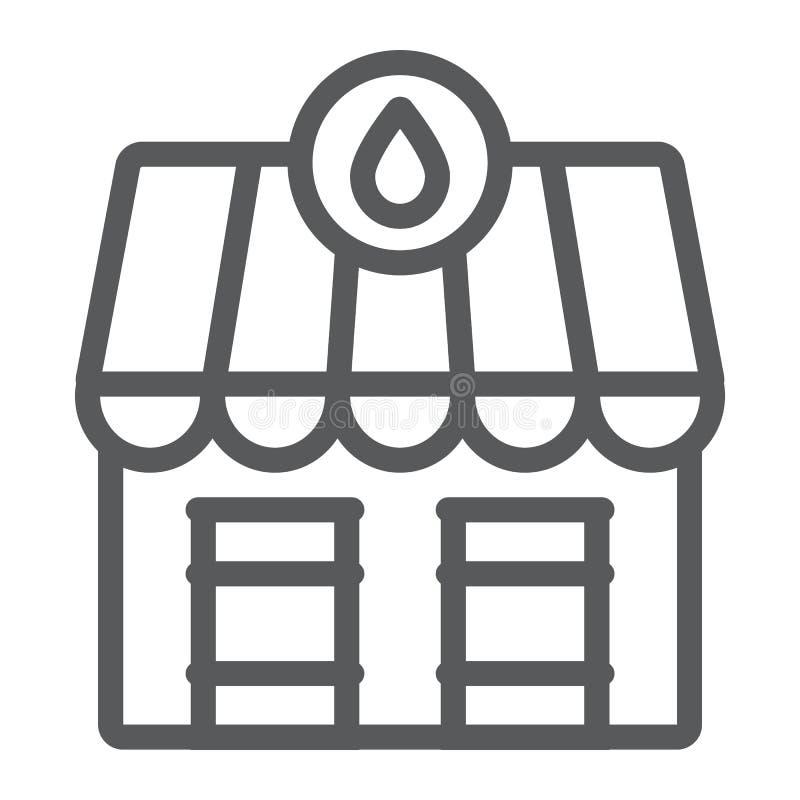 Van de de marktlijn van de oliepost het pictogram, de brandstof en de architectuur, de oliemarktbouw teken, vectorafbeeldingen, e vector illustratie