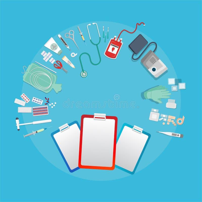 Van de medische apparatuur vlakke Web en druk illustratie artsenmedische uitrustingen stock illustratie