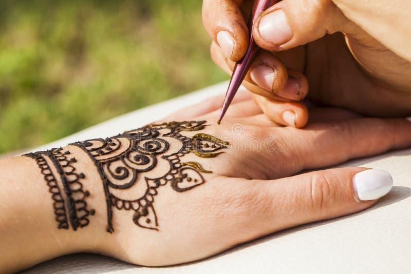 Van de mehenditextuur van de hennatekening de handhuid royalty-vrije stock foto's