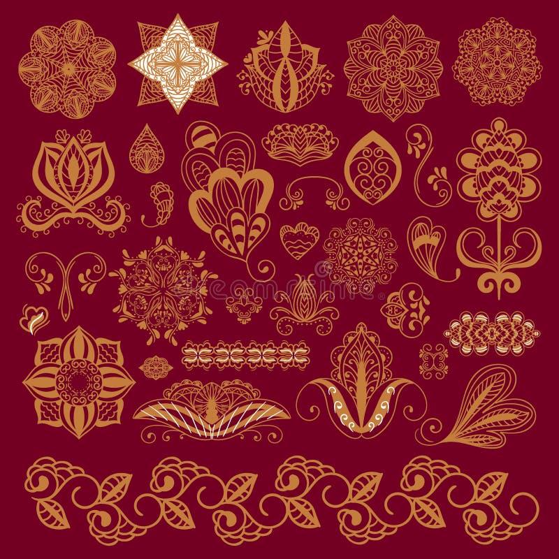 Van de mehndibloem van de hennatatoegering bruine van het de krabbel sier decoratieve Indische ontwerp mhendi van het patroonpais vector illustratie