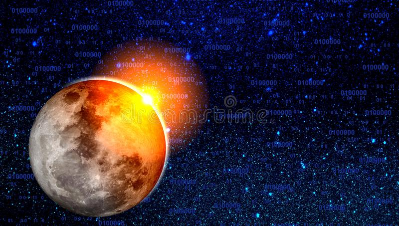 Van de de melkwegnevel van het heelal de sterren en de planeten De Achtergrond van het technologieconcept stock illustratie