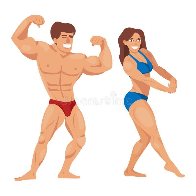 Van de de mensenillustratie van bodybuilderskarakters modelleert de spier gebaarde vastgestelde geschiktheid stellende bodybuildi vector illustratie