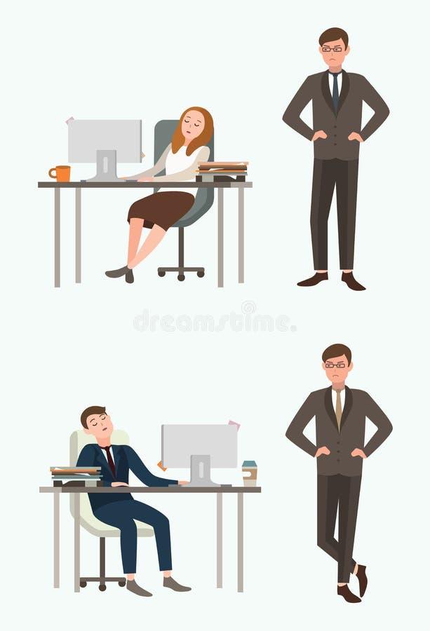 Van de mensenman en vrouw beambtenslaap op het werk Genomen door verrassings boze werkgever, leider Kleurrijke vlakke illustratie vector illustratie