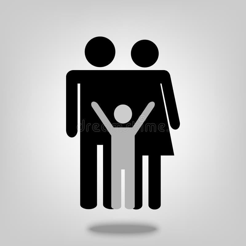 Van de mensenouders van het familie vectorpictogram de jonge geitjessymbool voor grafisch ontwerp, embleem, website, sociale medi stock illustratie