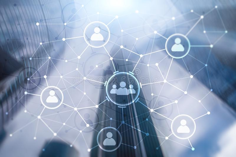 Van de mensenrelatie en organisatie structuur Sociale Media Bedrijfs en communicatietechnologieconcept royalty-vrije illustratie