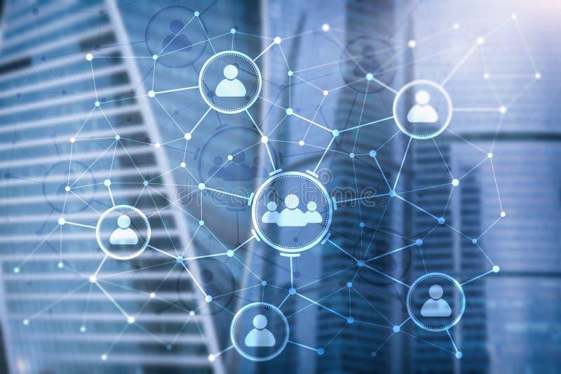 Van de mensenrelatie en organisatie structuur Sociale Media Bedrijfs en communicatietechnologieconcept stock illustratie