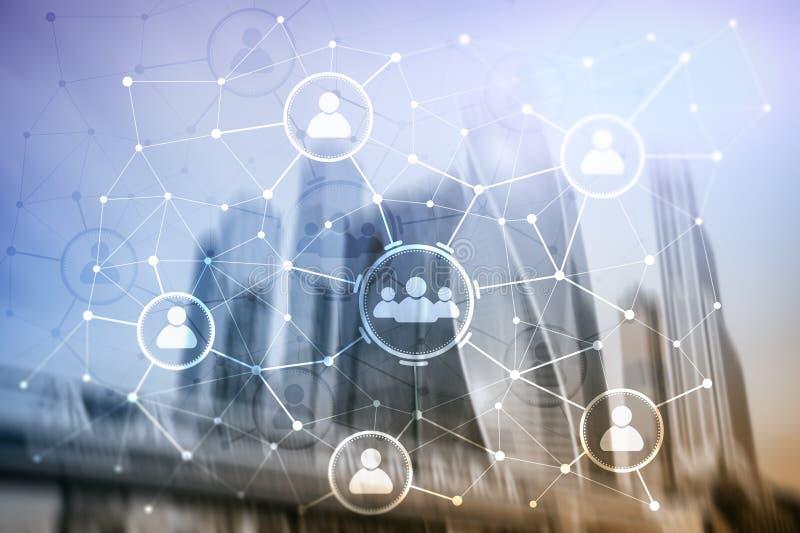 Van de mensenrelatie en organisatie structuur Sociale Media Bedrijfs en communicatietechnologieconcept vector illustratie