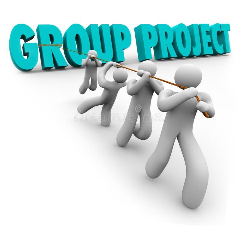Van de Mensenstudenten van het groepsproject de Samenwerking van de de Arbeiderssamenwerking vector illustratie