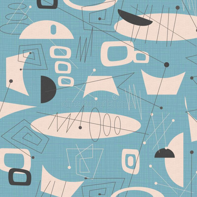 Van de midden van de eeuw modern stof Blauw als achtergrond royalty-vrije illustratie