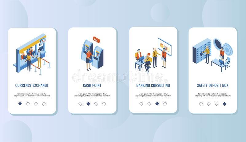 Van de de mobiele toepassing het onboarding schermen van de bankdiensten vectormalplaatje stock illustratie