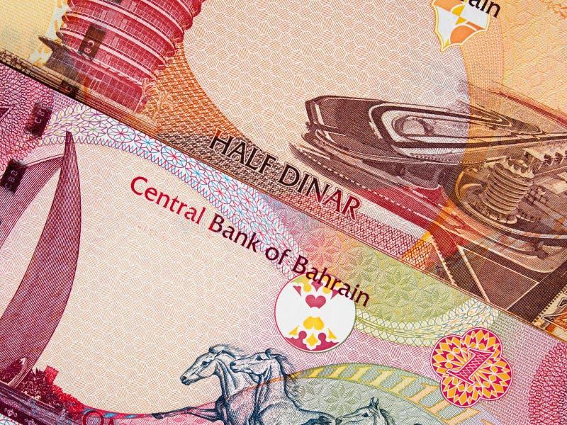 Van de de munt halve en één dinar van Bahrein het bankbiljetclose-up van 2006 macr stock fotografie