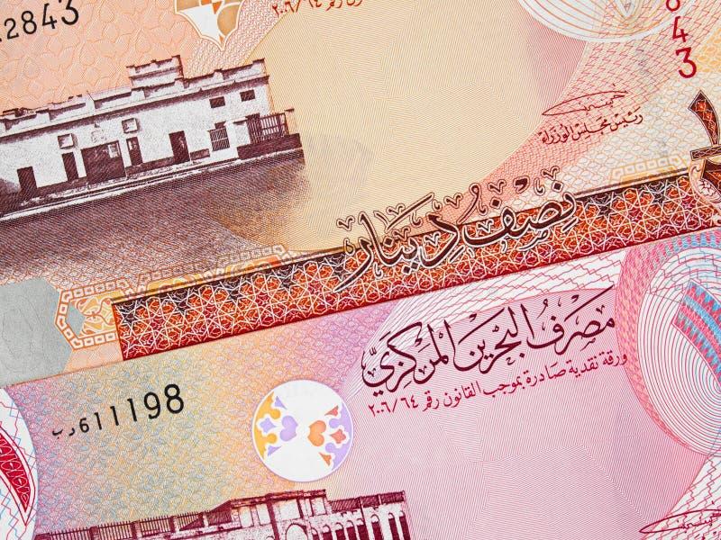 Van de de munt halve en één dinar van Bahrein het bankbiljetclose-up van 2006 macr royalty-vrije stock foto