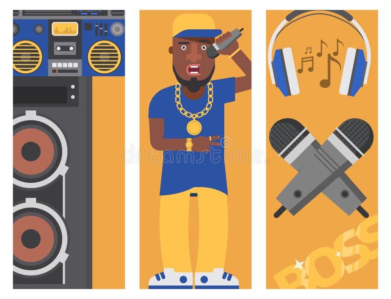 Van de de musicus vectorbanner van de hiphopmens de bijkomende van de de toebehorenmicrofoon van de breakdance expressieve tik mo vector illustratie
