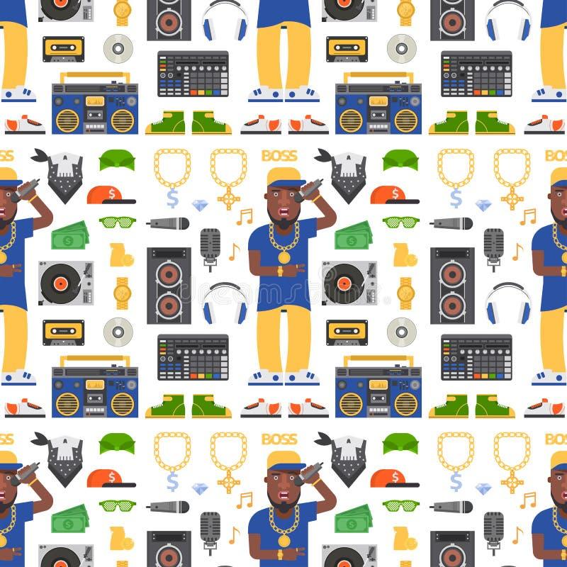 Van de musicus vectortoebehoren van de hiphopmens de bijkomende van de microfoonbreakdance persoon van de de tik moderne jonge ma stock illustratie