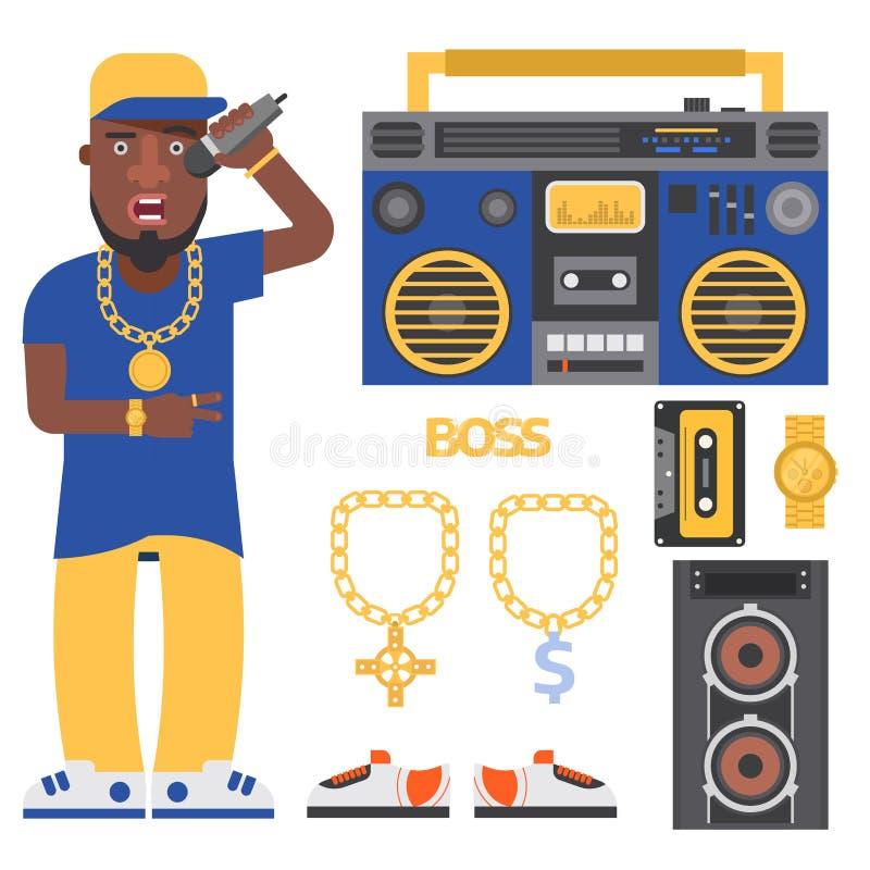 Van de musicus vectortoebehoren van de hiphopmens bijkomende van de microfoonbreakdance van de de tik moderne jonge manier expres vector illustratie