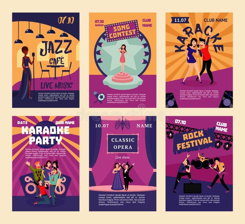 Van de muziekvermaak en Karaoke Affiches stock illustratie