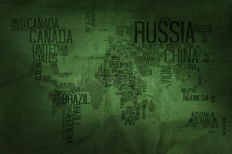 Van de de Naamtypografie van landen de Wereldkaart op Militaire Stoffentextuur B royalty-vrije stock foto's