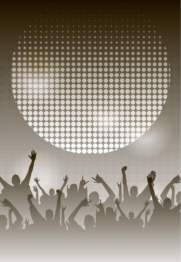 Van de de Nachtaffiche van de danspartij Zwart-wit Malplaatje Als achtergrond Vector illustratie royalty-vrije stock fotografie