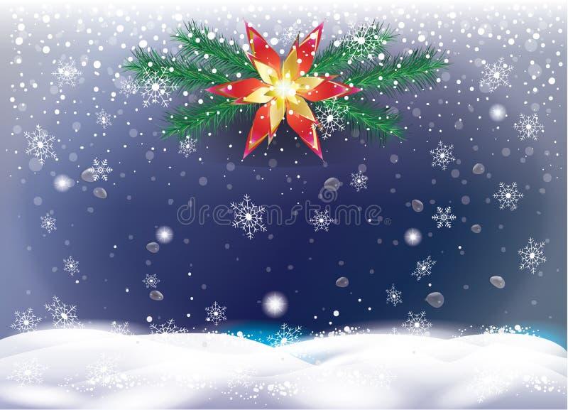 Van de de nachthemel van het Kerstmis de sneeuwlandschap kroon van de spartakken stock illustratie