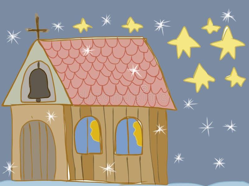 Van de nachtjonge geitjes van de stiltenacht de heilige artistieke tekening royalty-vrije illustratie