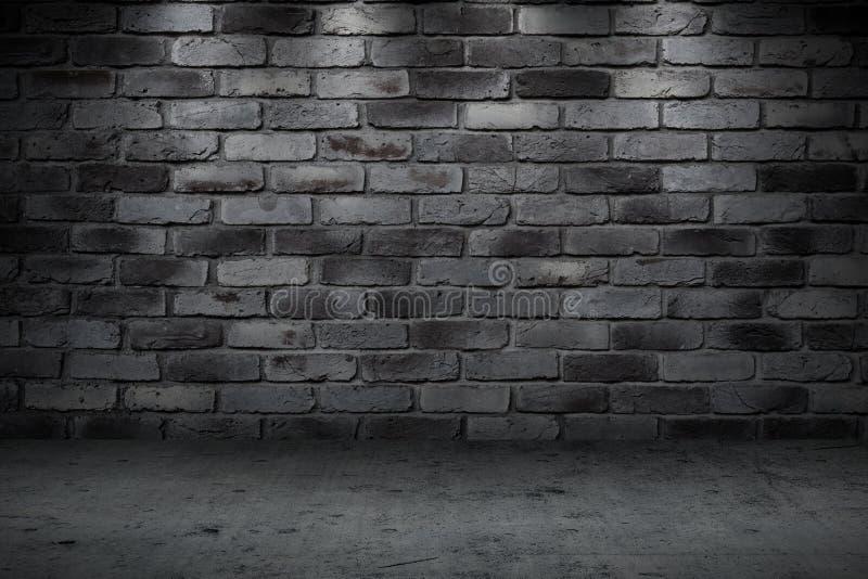 Van de de nachtsteeg van de steenmuur de donkere stille straat stock fotografie