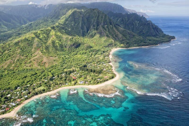 Van de napalikust van Kauai de luchtmening royalty-vrije stock foto