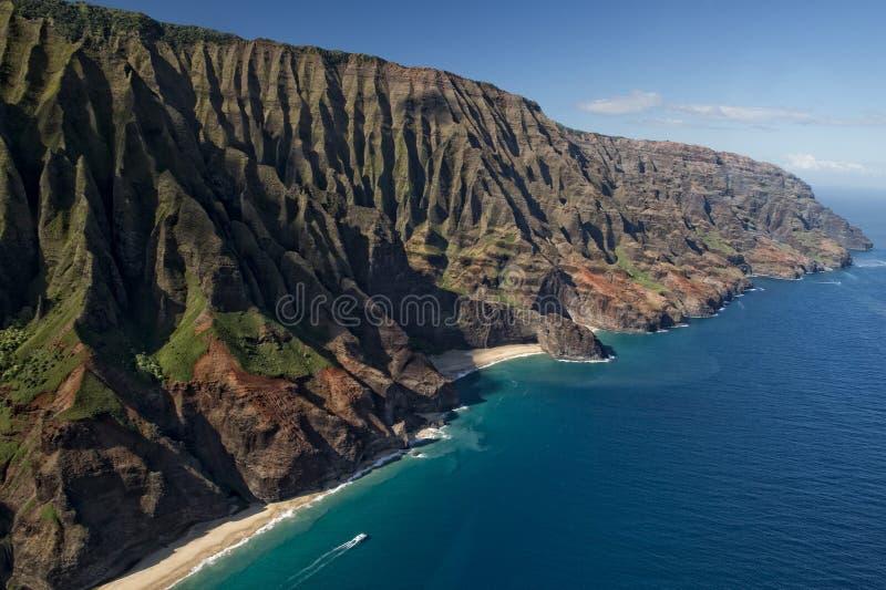 Van de napalikust van Kauai de luchtmening stock afbeelding