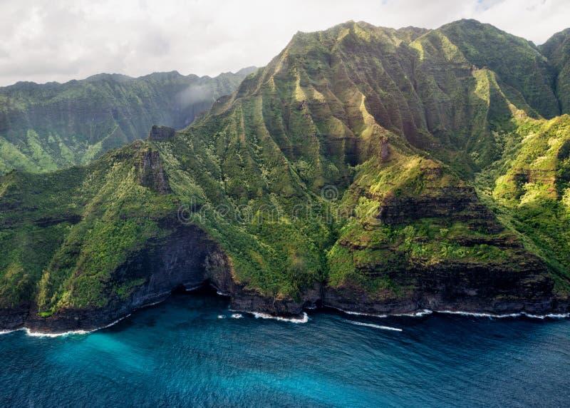 Van de napalikust van Kauai de luchtmening royalty-vrije stock afbeeldingen