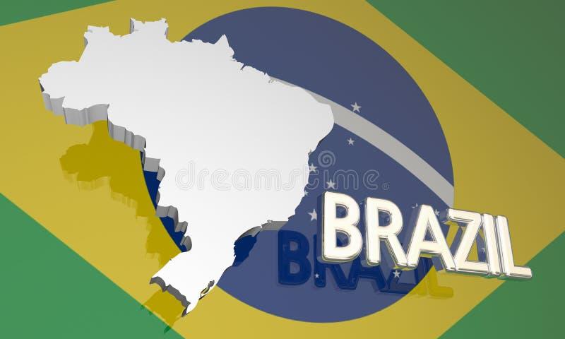 Van de de Natiekaart van het Land van Brazilië de Vlag van Zuid-Amerika stock illustratie