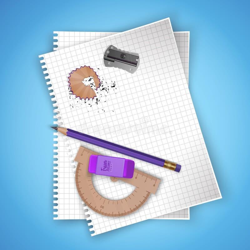 Van de notitieboekjeblad en school levering op kleurrijke heldere achtergrond, kantoorbehoeftenprentbriefkaar terug naar school V stock illustratie