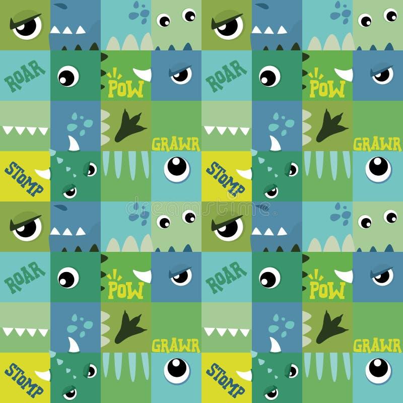 Van de Ogen Leuke Groenachtig blauwe Vierkanten van de monsterdinosaurus Naadloze het Patroon Vectorillustratie stock illustratie