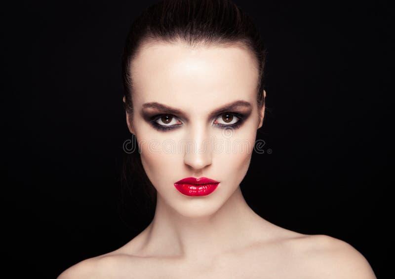 Van de ogen rode lippen van schoonheidssmokey de make-upmannequin royalty-vrije stock foto's