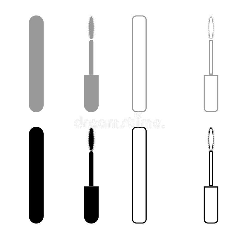 Van de de ogenmascara van de mascaraborstel het pictogram vastgestelde grijze zwarte kleur vector illustratie