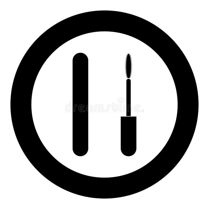 Van de de ogenmascara van de mascaraborstel het pictogram zwarte kleur in cirkelronde vector illustratie