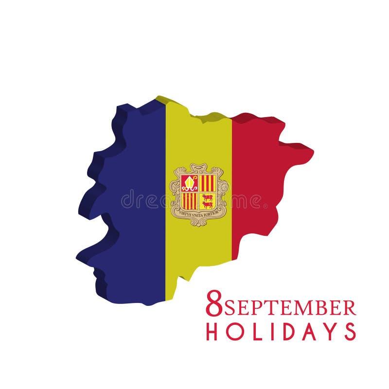 Van de de Onafhankelijkheidsdag van Andorra het malplaatjeachtergrond van September 8 vector illustratie