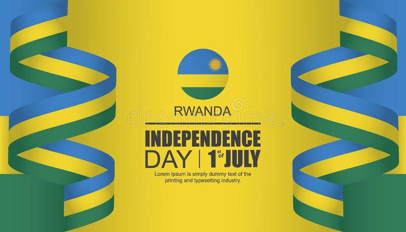 Van de de onafhankelijkheidsdag van Rwanda het malplaatjeontwerp stock illustratie