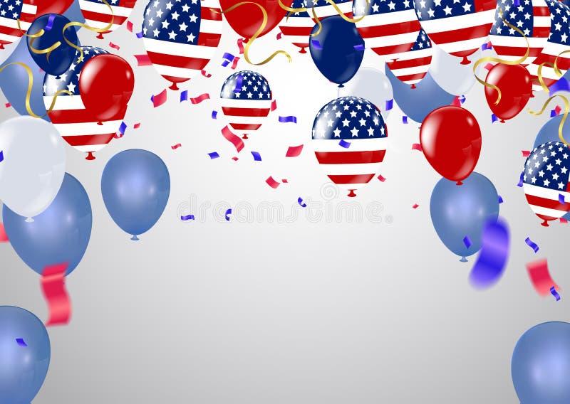 Van de de Onafhankelijkheidsdag van de Verenigde Staten van Amerika de groetkaart royalty-vrije illustratie